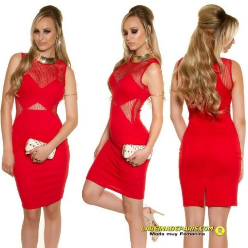 Vestido de moda con malla rojo [1]