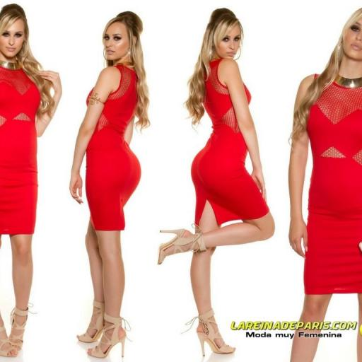 Vestido de moda con malla rojo