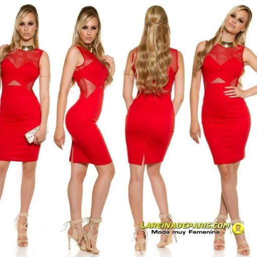 Vestido de moda con malla rojo [3]