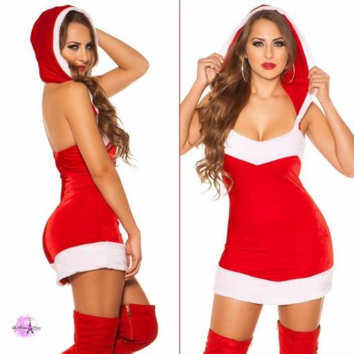 Mini vestido santa Claus con capucha