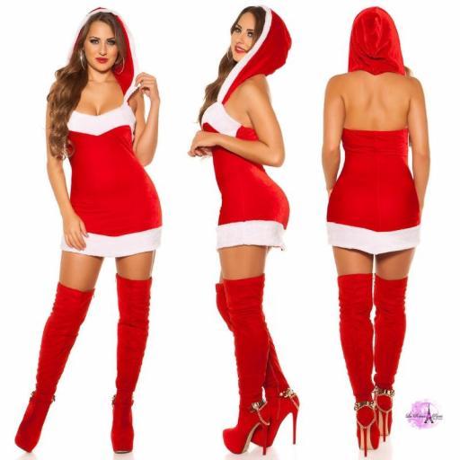 Mini vestido santa Claus con capucha [1]