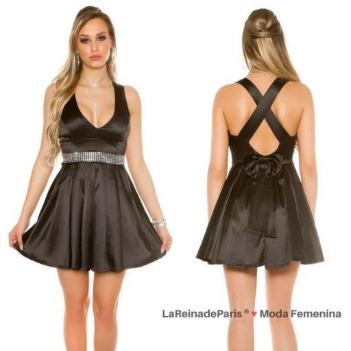 Vestido negro de noche brillante