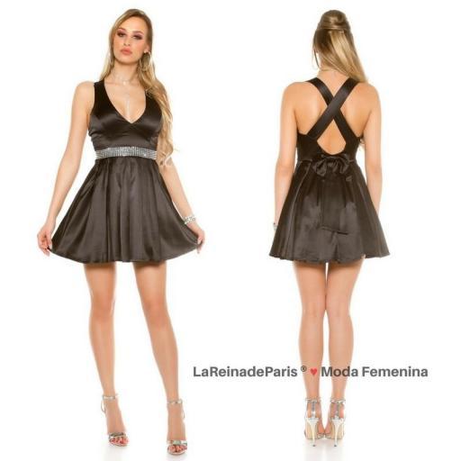 Vestido negro de noche brillante  [1]