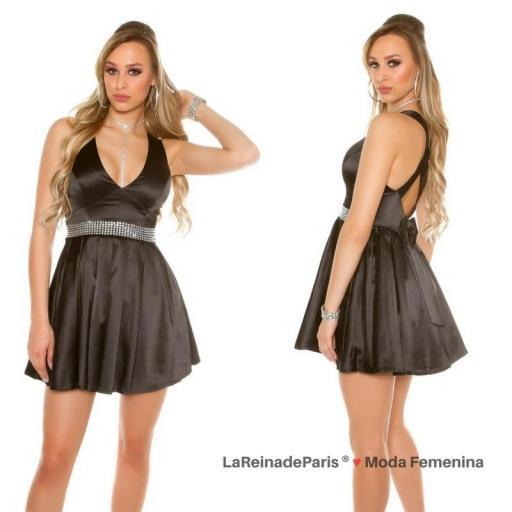 Vestido negro de noche brillante  [3]