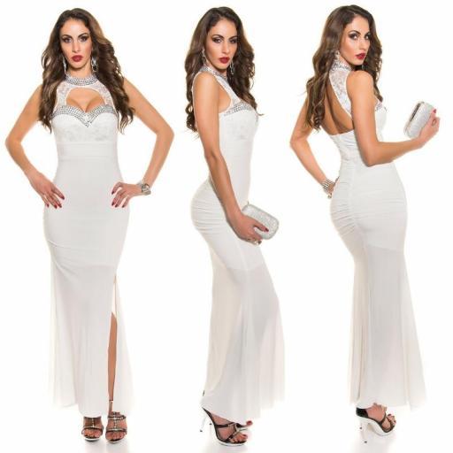 Vestido largo noche glamour blanco [1]