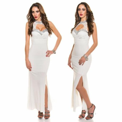 Vestido largo noche glamour blanco [2]