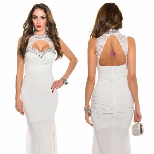Vestido largo noche glamour blanco [3]