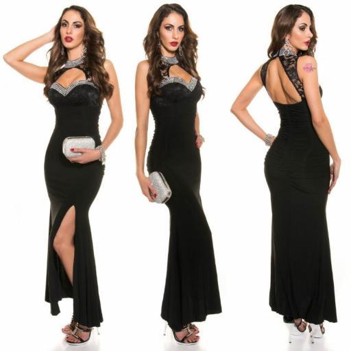 Vestido largo noche glamour negro [2]