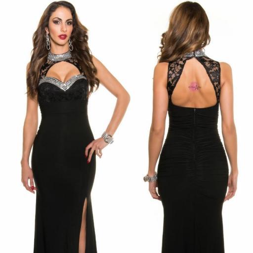 Vestido largo noche glamour negro [3]