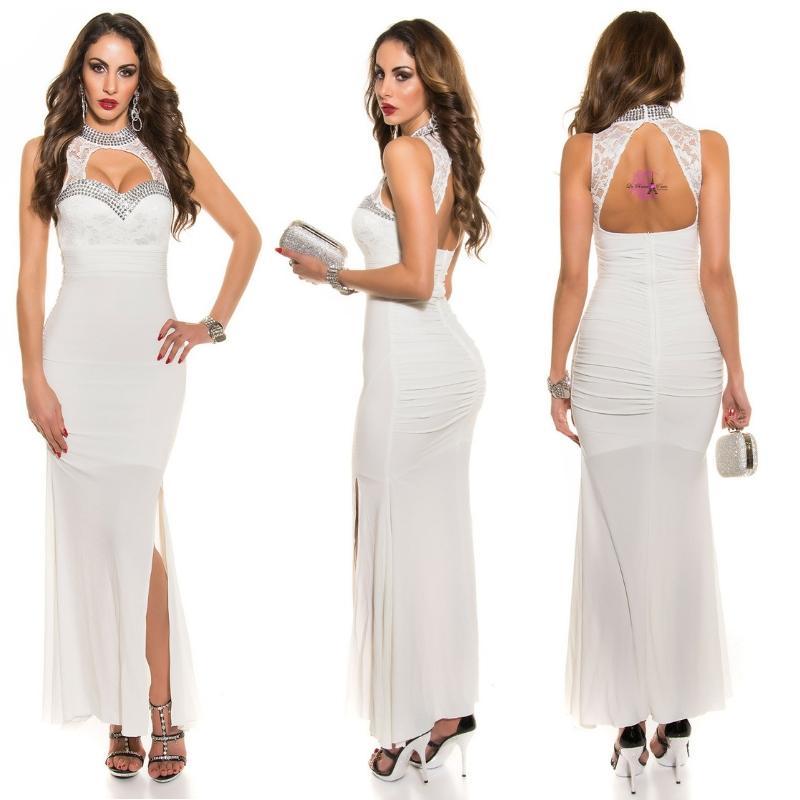 Vestido largo noche glamour blanco