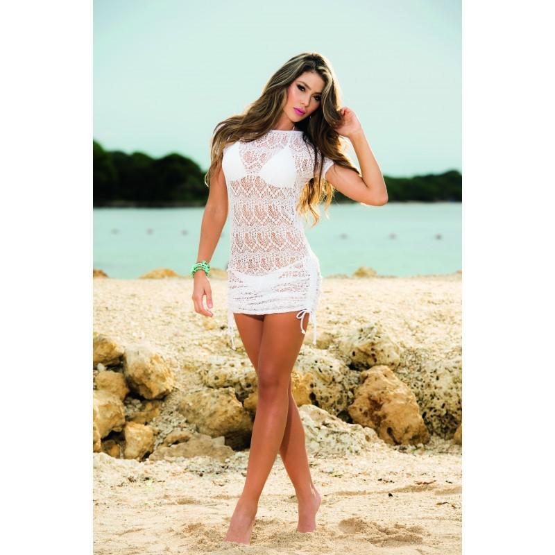 Vestido de playa encaje blanco