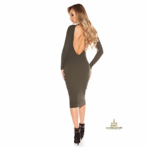 Vestido khaki de punto espalda sensual [3]
