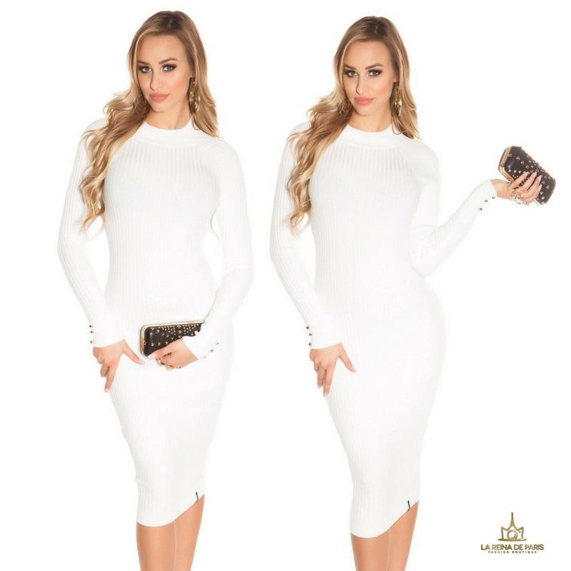 Vestido blanco de punto espalda sensual