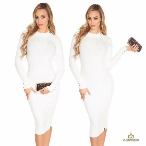 Vestido blanco de punto espalda sensual [0]