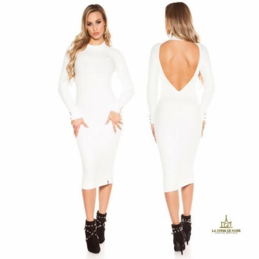 Vestido blanco de punto espalda sensual [2]