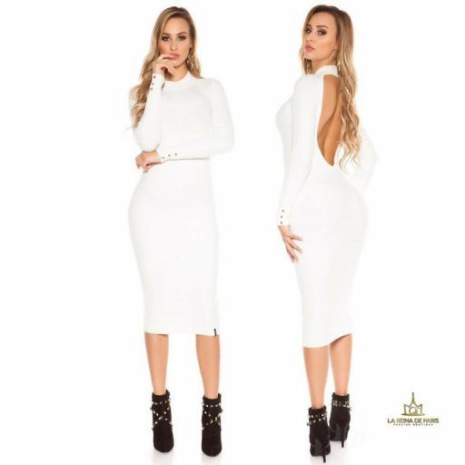 Vestido blanco de punto espalda sensual [1]