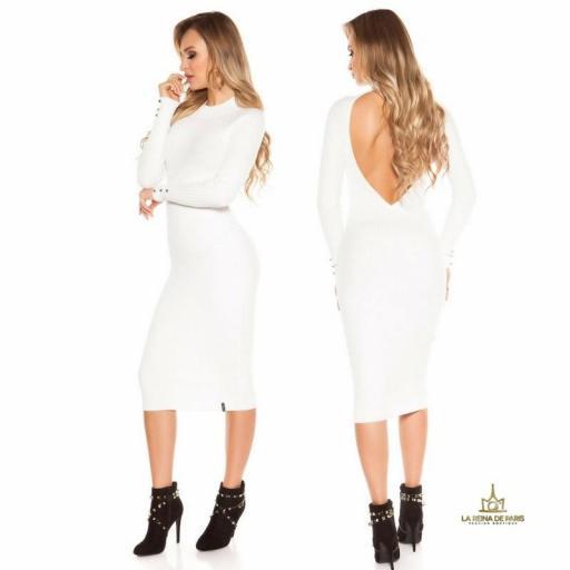 Vestido blanco de punto espalda sensual [3]