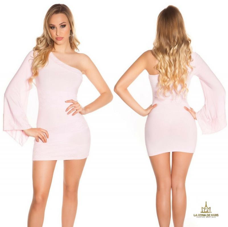 Vestido corto rosa manga de encaje