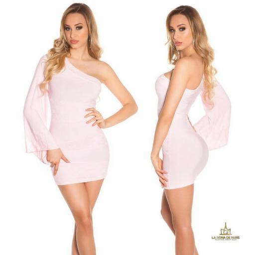 Vestido corto rosa manga de encaje [1]
