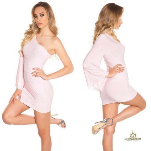 Vestido corto rosa manga de encaje [2]