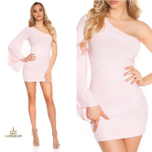 Vestido corto rosa manga de encaje [3]