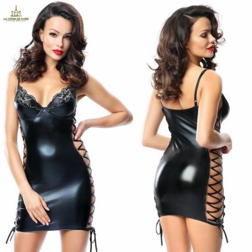 Vestido ajustado elástico negro
