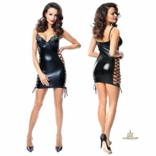 Vestido ajustado elástico negro  [1]