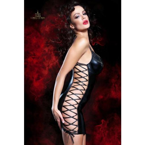 Vestido ajustado elástico negro  [3]