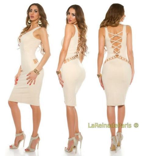 Vestido beige de aberturas atractivas  [3]