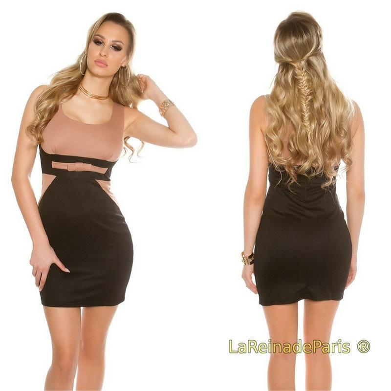 Mini vestido atractivo bicolor