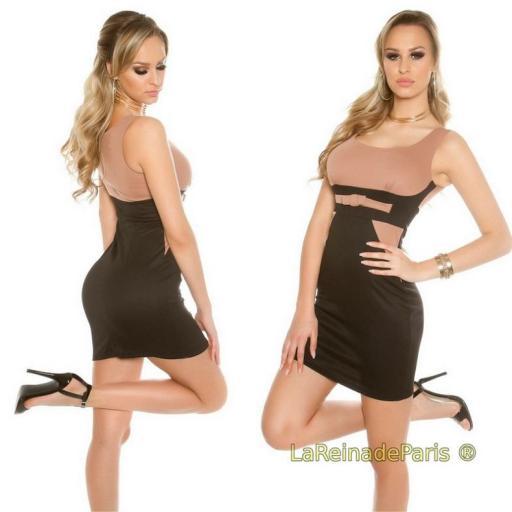 Mini vestido atractivo bicolor  [2]