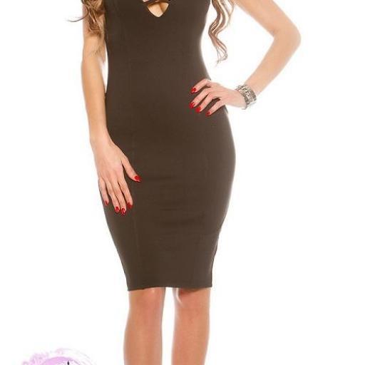 Vestido negro ajustado con aberturas  [3]