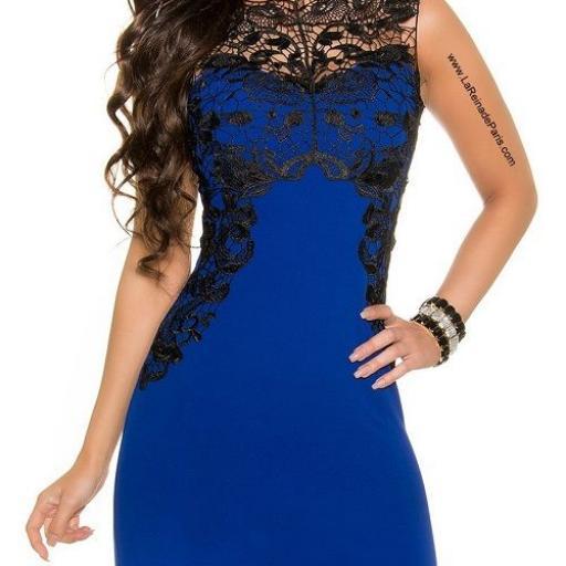 Vestido azul corto con encaje [1]
