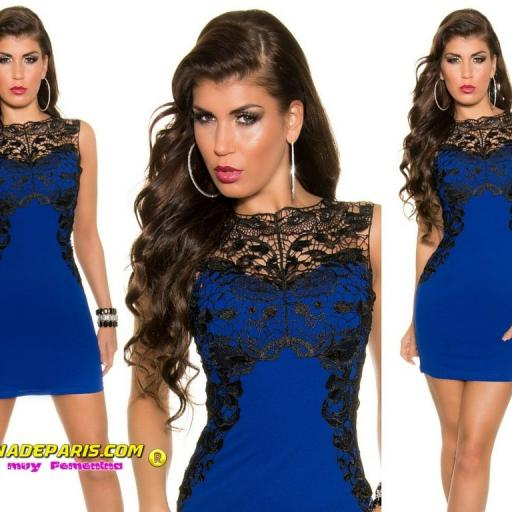 Vestido azul corto con encaje [3]