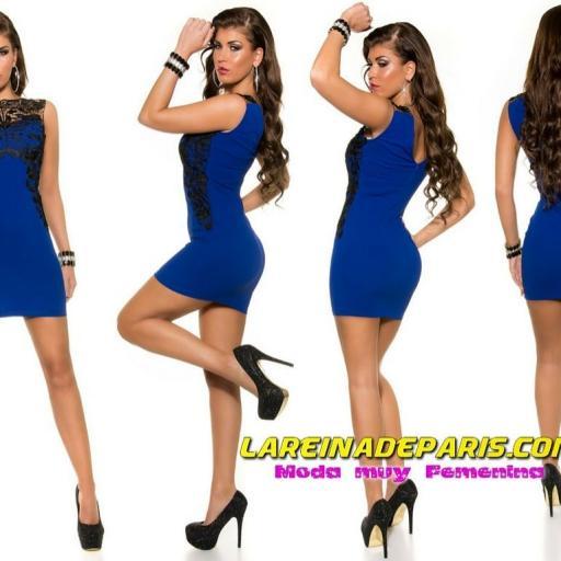 Vestido azul corto con encaje [2]