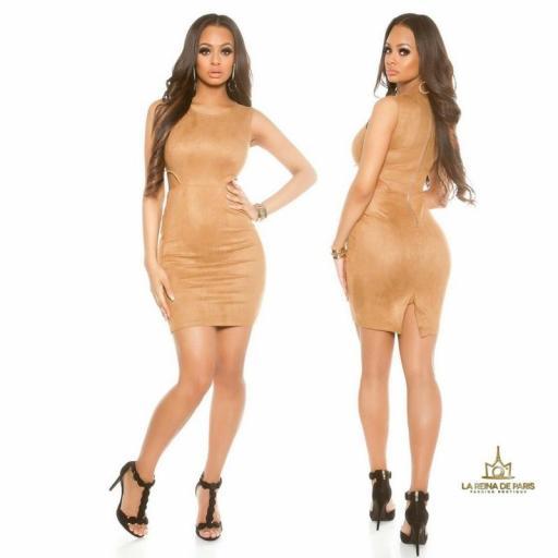 Vestido de ante bronce con recortes [2]