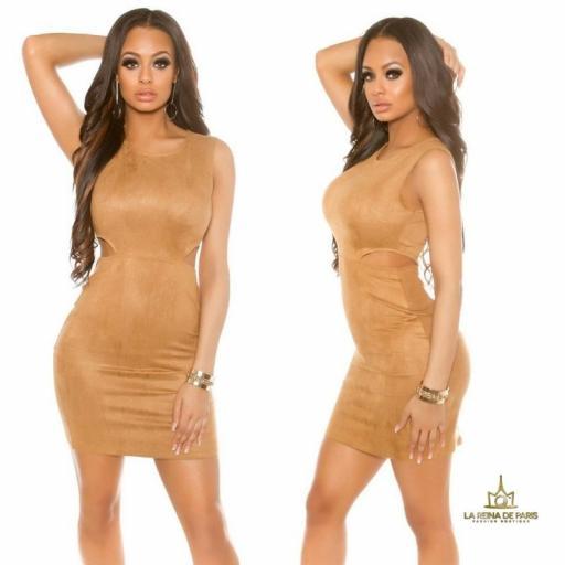 Vestido de ante bronce con recortes [3]