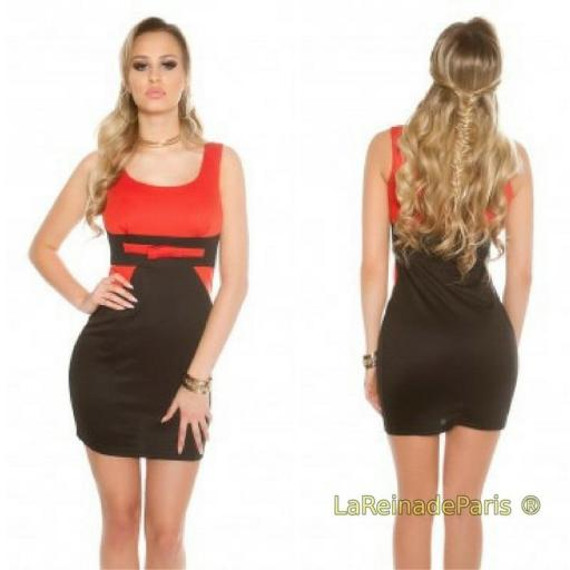 Mini vestido atractivo negro naranja