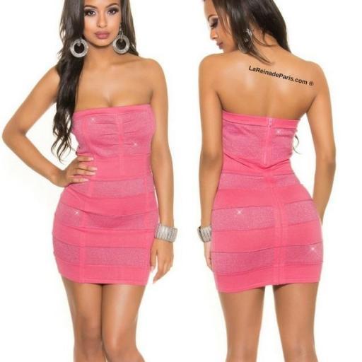 Mini vestido tejido punto Lurex Coral  [1]