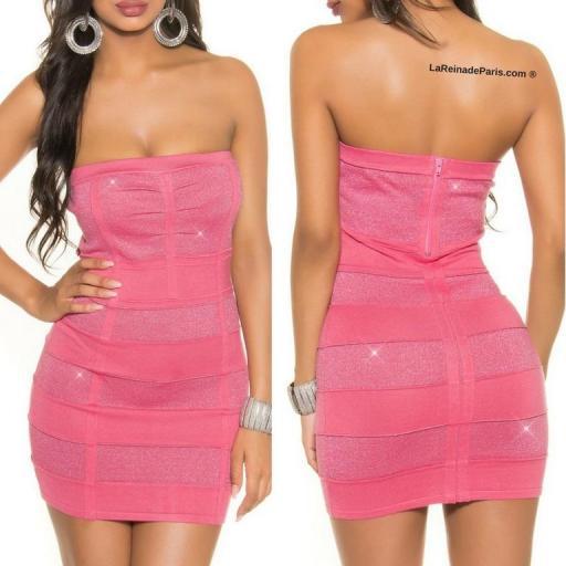 Mini vestido tejido punto Lurex Coral  [3]