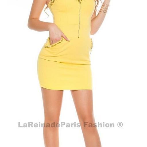 Vestido amarillo con aplicaciones  [3]