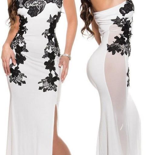 Vestido largo blanco sensual diseño [1]