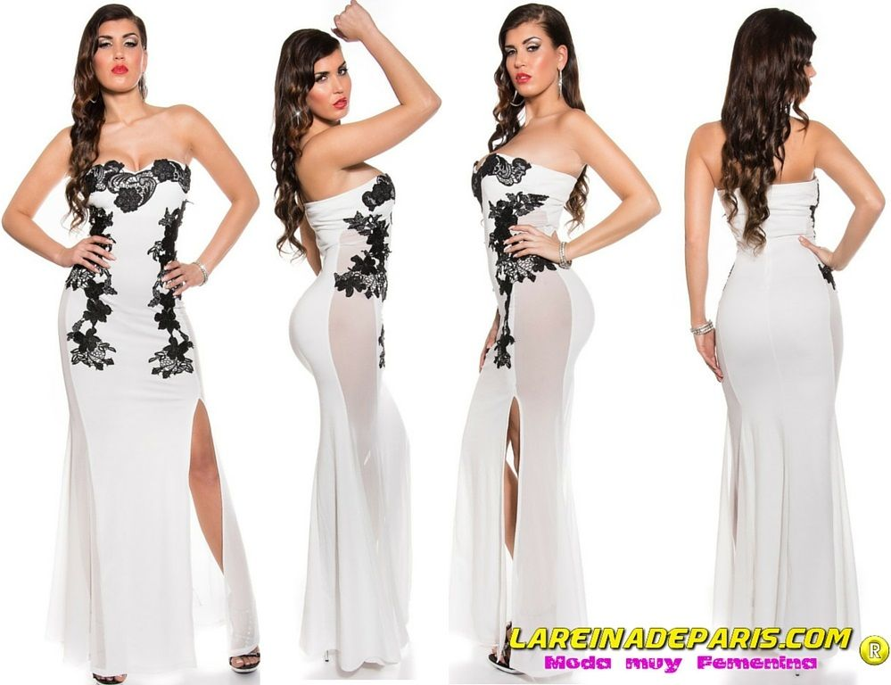 Vestido largo blanco sensual diseño