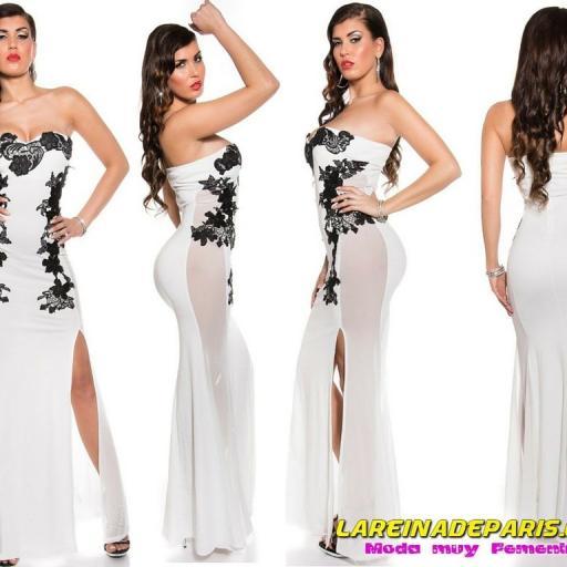 Vestido largo blanco sensual diseño [0]