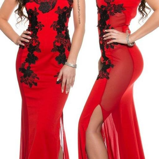 Vestido rojo largo elegante bordado [1]