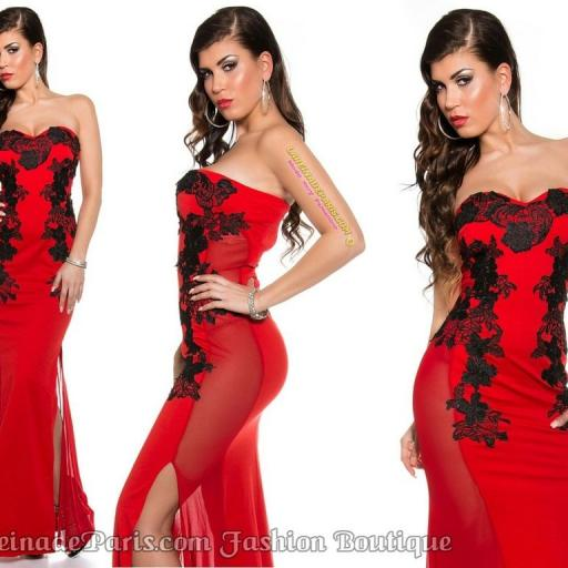 Vestido rojo largo elegante bordado [3]