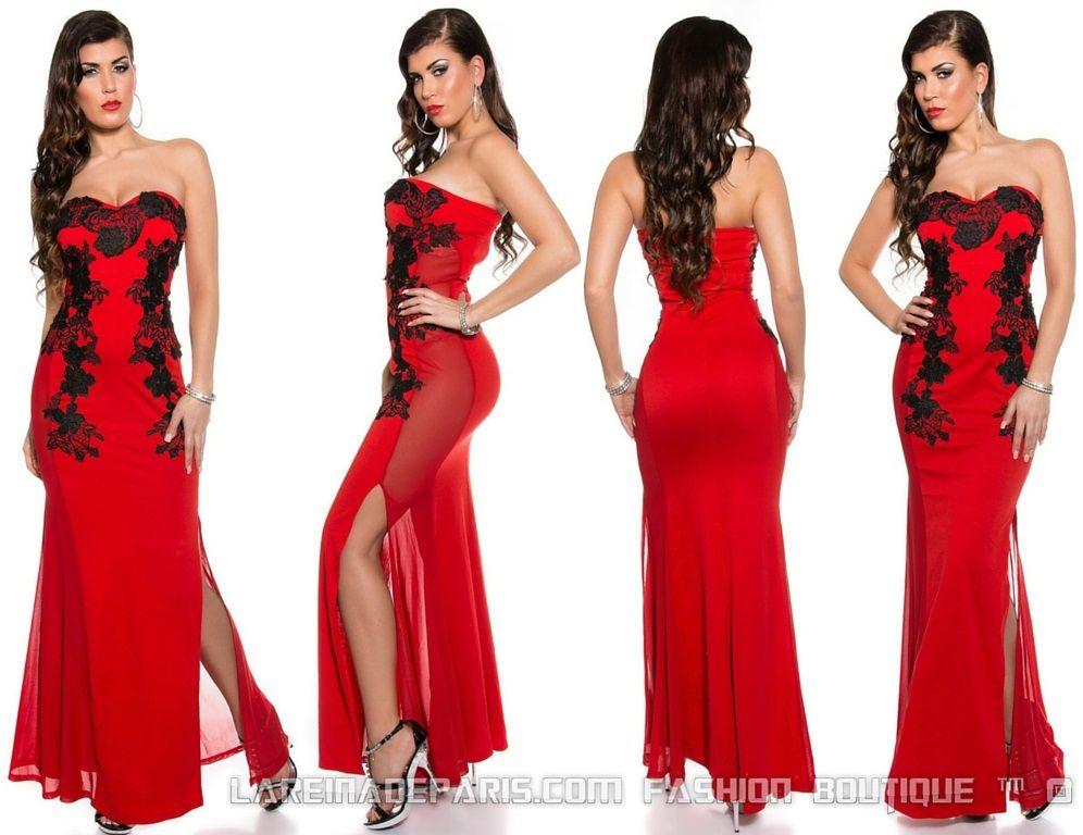 Vestido rojo largo elegante bordado