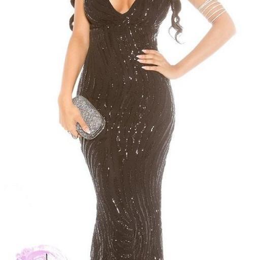 Vestido de gala negro brillante [1]