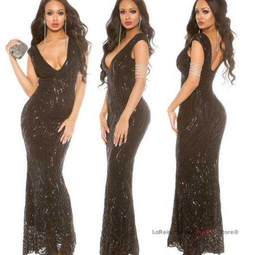 Vestido de gala negro brillante [3]