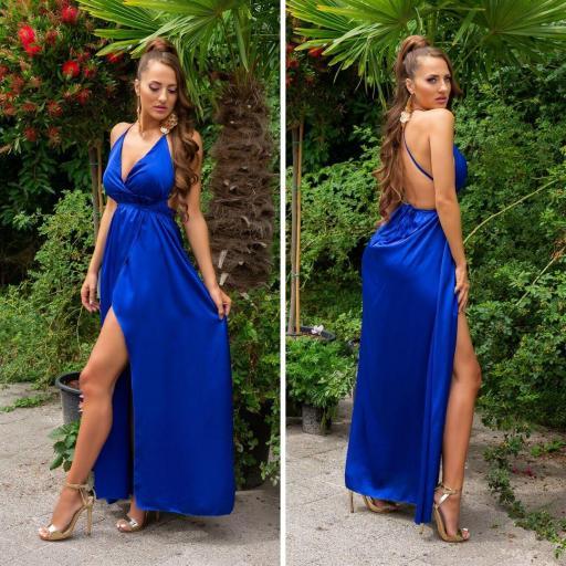 Vestido envolvente espalda desnuda azul